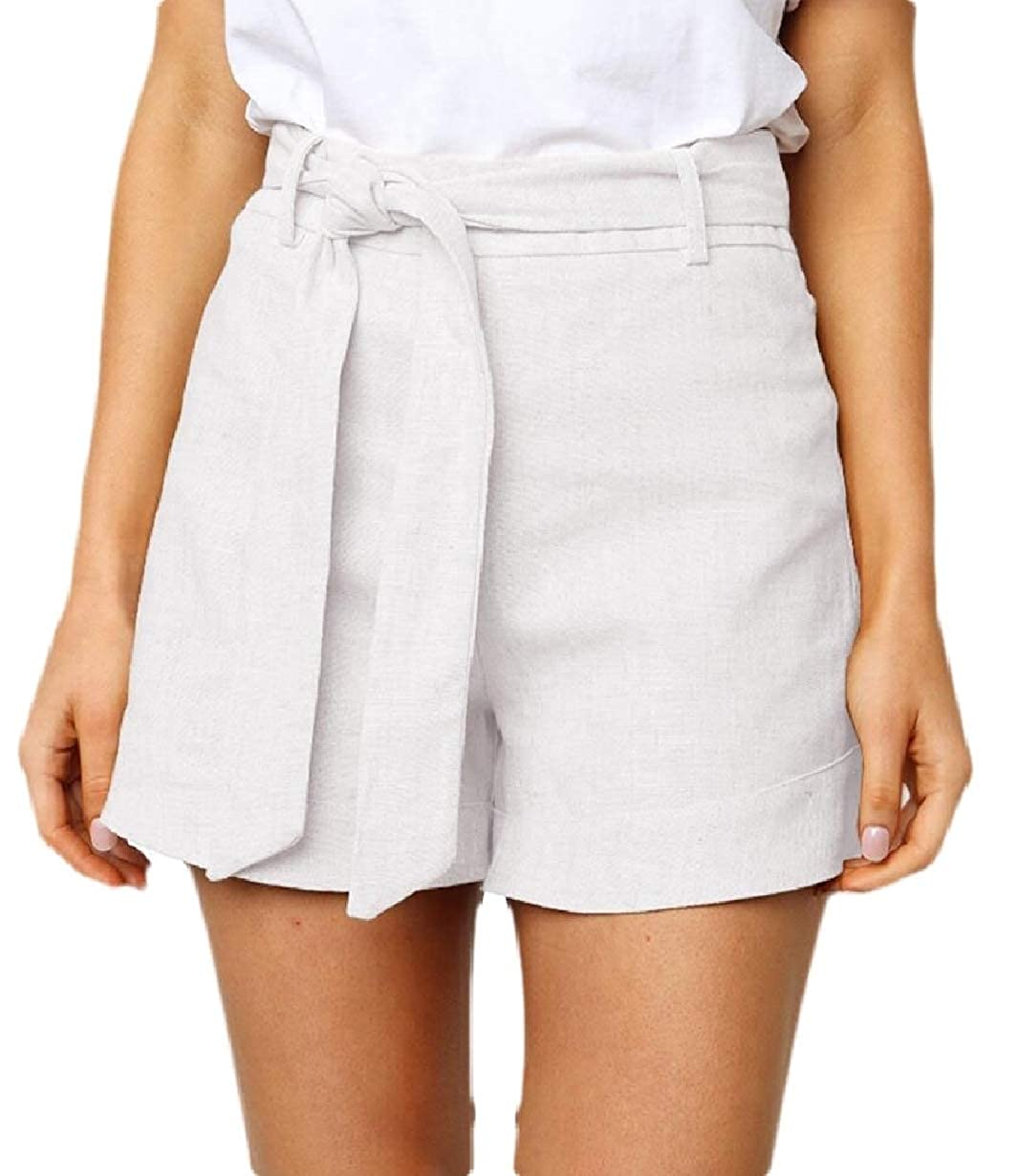 CBTLVSN Women Elastic Waist Casual Solid Color Loose Walking Shorts