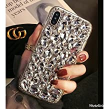 Crystal_phonecase Bling Sparkly Handmade Rhinestone Jewelled Crystals Diamond Clear Case Cover for Apple iPhone 4/4s 5c 5/5s/SE 6/6s 6/6sPlus 7/8 7/8Plus X (White Crystal, iPhone 6/6s Plus)