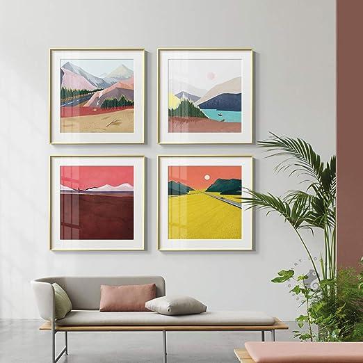 zxddzl Resumen Colorido montaña Color Bloque Lienzo Pintura ...