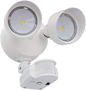 Lithonia Lighting 2RH 40K 120 MO DDB M6 OLF LED Security Floodlight with Motion Sensor, 2 Heads, Round, Dark Bronze