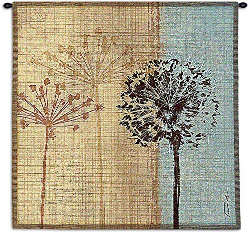 in The Breeze by Tandi Venter | Woven Tapestry Wall Art Hanging | Botanical Dandelion Theme | 100% Cotton USA Size 35x35