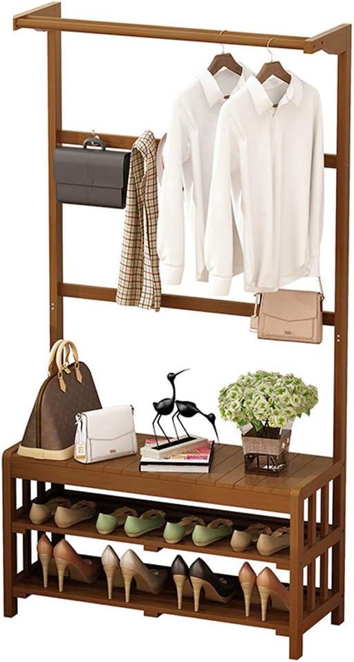 CXQ 現代のミニマリストフロアスタンドコートラックシンプルな竹茶色のコートラックリビングルームの寝室吊り服を変える靴ラック (Size : Xl)