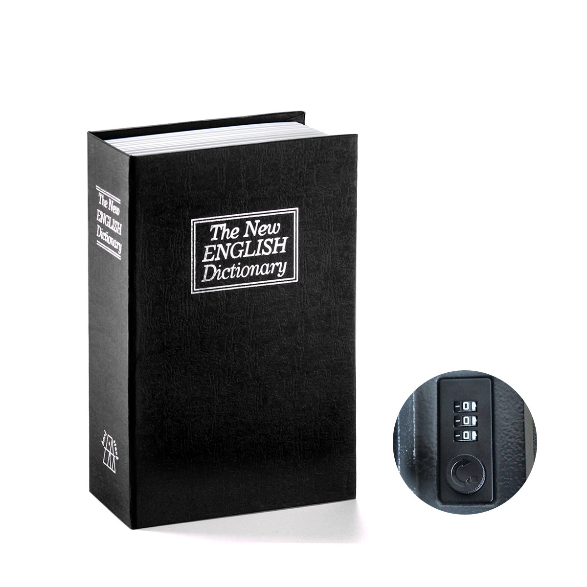 Book Safe with Combination Lock - Jssmst Home Dictionary Diversion Metal Safe Lock Box 2017, SM-BS0401S, Black Small