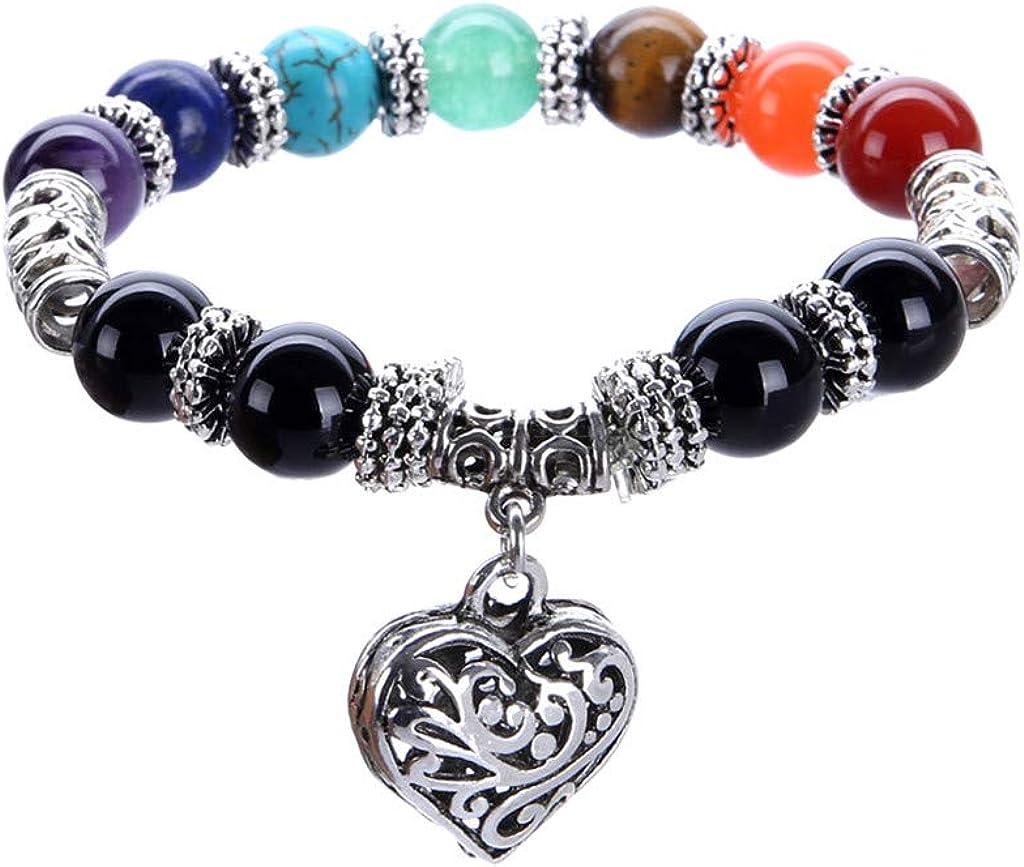 Lava Rock 7 Chakra Aromatherapy Essential Oil Diffuser Bracelet Elastic Natural Stone Yoga Meditation Beads Bracelet Bangle for Men Women Girls Jewelry