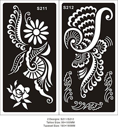 2 fogli Mehndi Tattoo Stencil Mehndi Tatuaggi all'hennè S211 212 - Usa e getta - Per Tatuaggio all'henné, scintillio tatuaggio e airbrush tatuaggio Tie