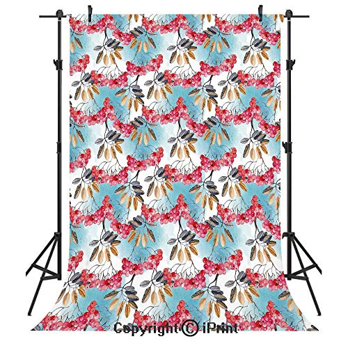 - Rowan Photography Backdrops,Hand Painted Branches of Ashberries with Leaves Artistic Display Decorative,Birthday Party Seamless Photo Studio Booth Background Banner 5x7ft,Light Blue Pink Light Coffee