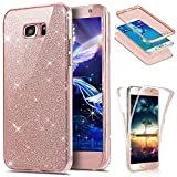 EMAXELERS Samsung Galaxy S6 Edge Case Crystal Protective Clear Front and Back 360 Full Body TPU Bumper Case Cover for Samsung Galaxy S6 Edge Glitter Full TPU:Rose Gold