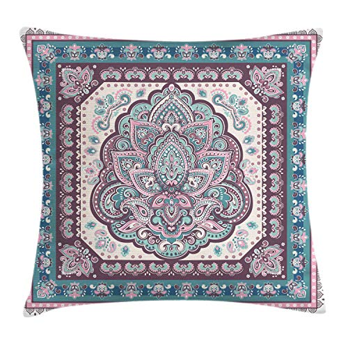 Ambesonne Ethnic Throw Pillow Cushion Cover, Bohemian Hippie Mandala Arabic Paisley Oriental Asian Design, Decorative Square Accent Pillow Case, 24 X 24 Inches, Purple Light Pink and Petrol Green