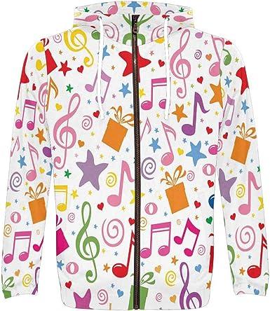 INTERESTPRINT Mens Full Zip Hoodies Jacket Coat Music Notes on Old Paper Sheet
