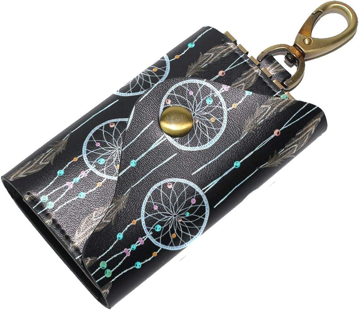 KEAKIA Watercolor Dreamcatcher Pattern Leather Key Case Wallets Tri-fold Key Holder Keychains with 6 Hooks 2 Slot Snap Closure for Men Women