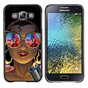 KLONGSHOP // Cubierta de piel con cierre a presión Shell trasero duro de goma Protección Caso - fresco gángster chica tonos arma del tatuaje - Samsung Galaxy E5 E500 //