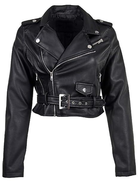 new list stylish design fair price Women's Juniors Fashionable Cropped Faux Leather Moto Biker Jacket