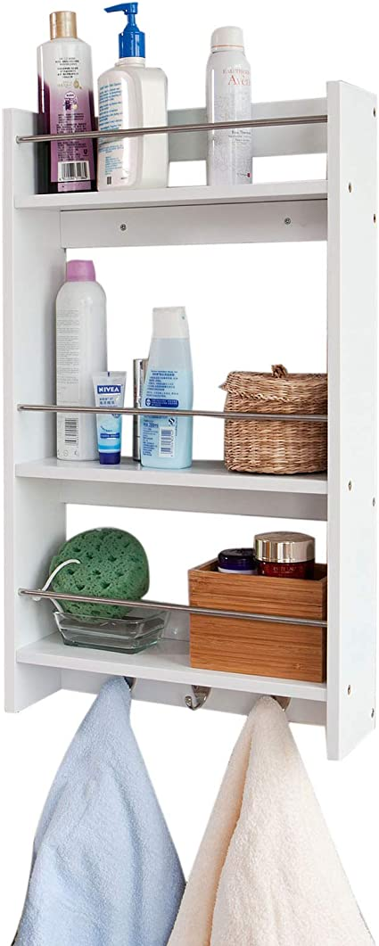 SoBuy® Estantería de pared, estante de pared, estantería de baño, estantería de cocina de MDF FRG33-W