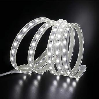 XUNATA 25m 220V Tiras LED, SMD 5050 60LEDs/m, IP67 Impermeable, Escalera de Techo Blancas Tira de LED Cocina Cable Luces LED Blanco Frio: Amazon.es: Iluminación