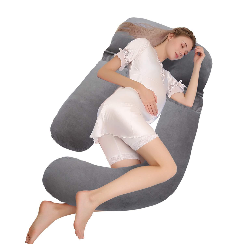 Habikox全身妊娠枕&マタニティ枕/授乳枕カバー(ジッパー取り外し可能カバー付、グレー - ベルベット) B07NZZL26C