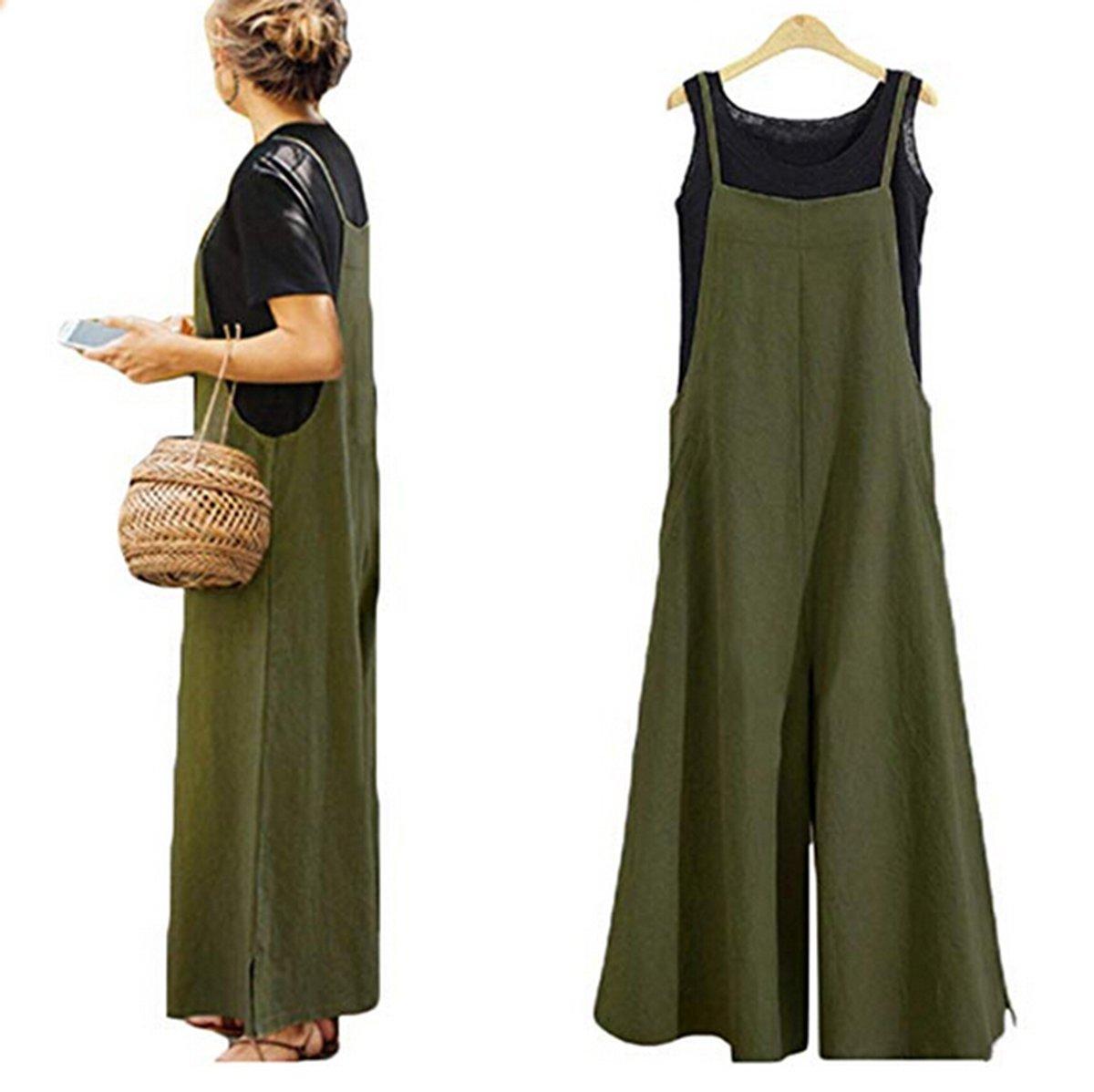 72ab5751868 Women Summer Loose Linen Suspender Overalls Jumpsuit Bib Trousers Wide Leg  Pants Plus Size (US XXL Tag XXXL