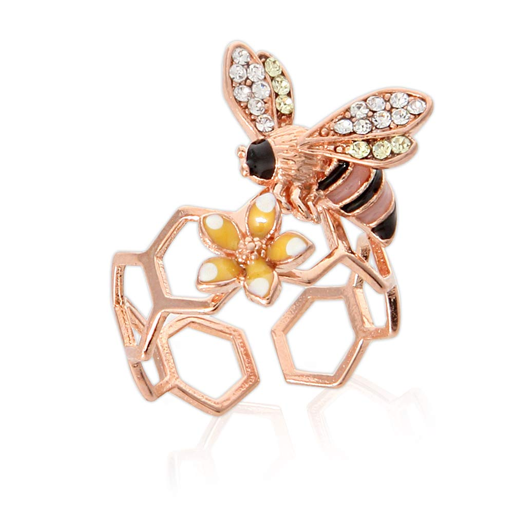 LAONATO Epoxy Honeybee and Flower Ring Plated Brass Adjustable Size