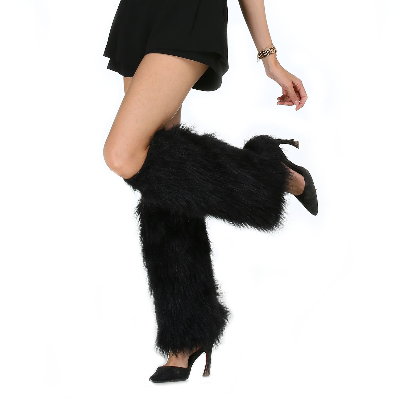 Deluxe Furry Leg Warmers Black 1 Pair