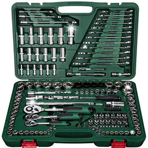 - 150-Piece SAE/Metric Mechanics Tool Set Professional Automotive Automobile Repairing Tool Set Auto Reparing Vehicle Maintenance Tool Kits