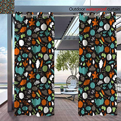Charm Fruit Italian (QianHe Indoor/Outdoor Single Panel Print Window Curtain Thanksgiving-Day-Symbols-Vector-Background-Autumn-Harvest-Icons-Seamless-Pattern-Silhouettes-of-Turkey-Bird-Berries-Fruit-Vegetables-Leaves-Ea)