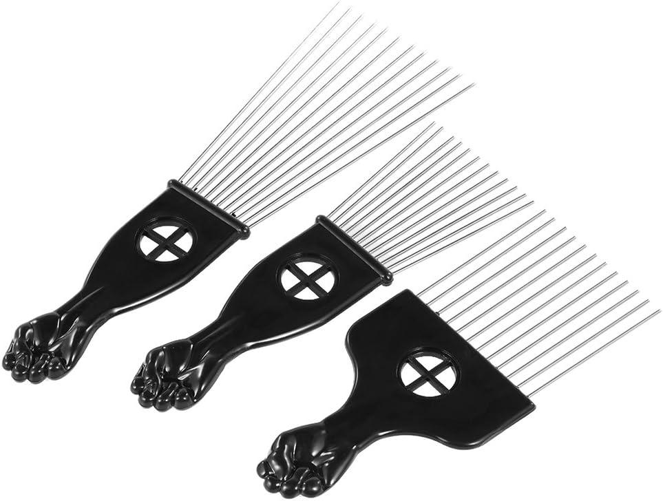 Anself 3Pcs Pick peine Set Metal Afro pelo Colorear Cepillo Peine Pelo afroamericana peluquería Styling Herramienta