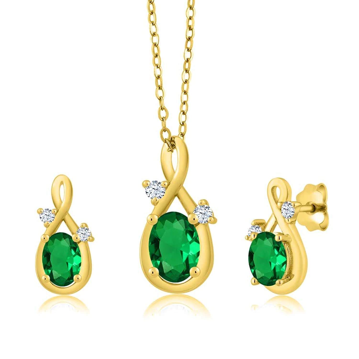 1.49 Ct Oval Green Simulated Emerald 14K Yellow Gold Pendant Earrings Set