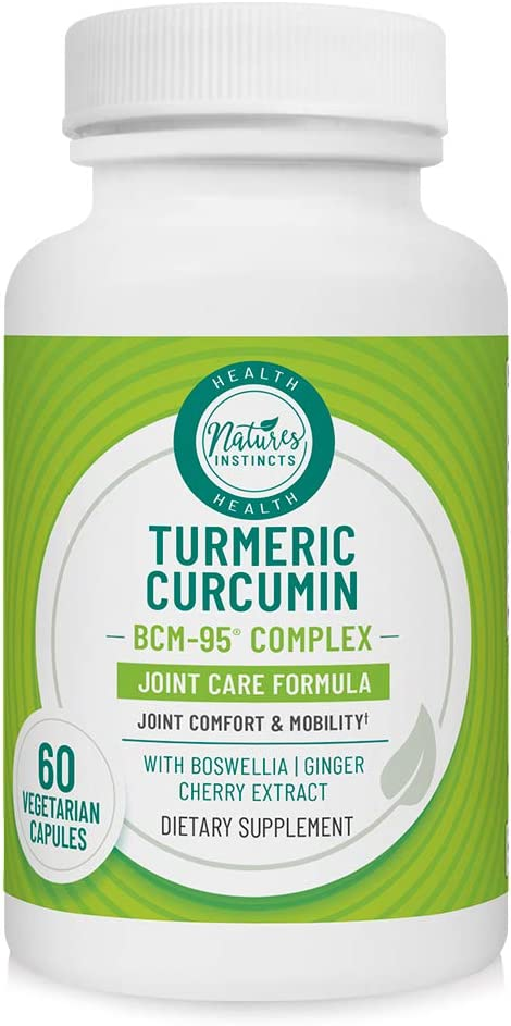 Nature s Instincts Joint Care Turmeric Curcumin BCM-95 Complex Joint Care Formula Joint Comfort Mobility Boswellia, Ginger, Cherry Extract Vegetarian 60 Capsules