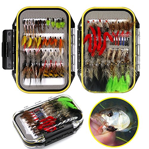 FlySoul Fly Fishing Flies Kit Handmade Fly Fishing Lures-Dry/Wet Flies,Streamer, Nymph, Emerger with Waterproof Fly Box (72 PCS Flies kit+Waterproof Fly ()