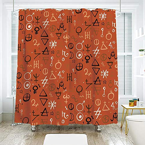 (scocici Bathroom Curtain Separation Door Curtain Shower Curtain,Occult Decor,Diverse Western Aztec Spiritual Alchemy Symbols Over Colorful Backdrop Powers Art,Red,72