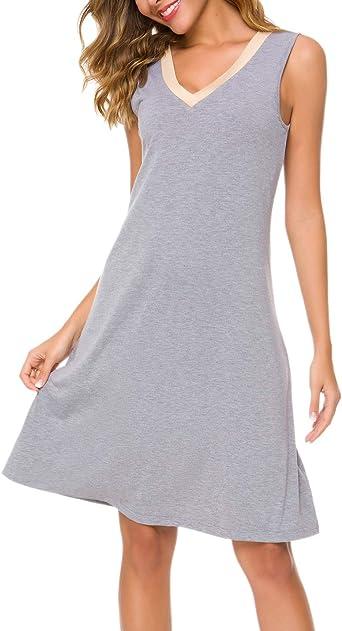 RIKILIO Vestido de Noche con Cuello en V para Mujer, sin Mangas, camisón de algodón Suave Gris Gris 34: Amazon.es: Ropa y accesorios