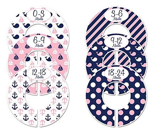 Closet Doodles C136 Nautical Girl Baby Clothing Dividers Set of 6 Fits 1.25inch Rod