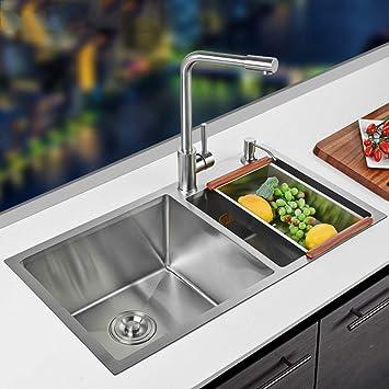 Cucina Lavello Accessori, in acciaio inox in vetro superiore ...