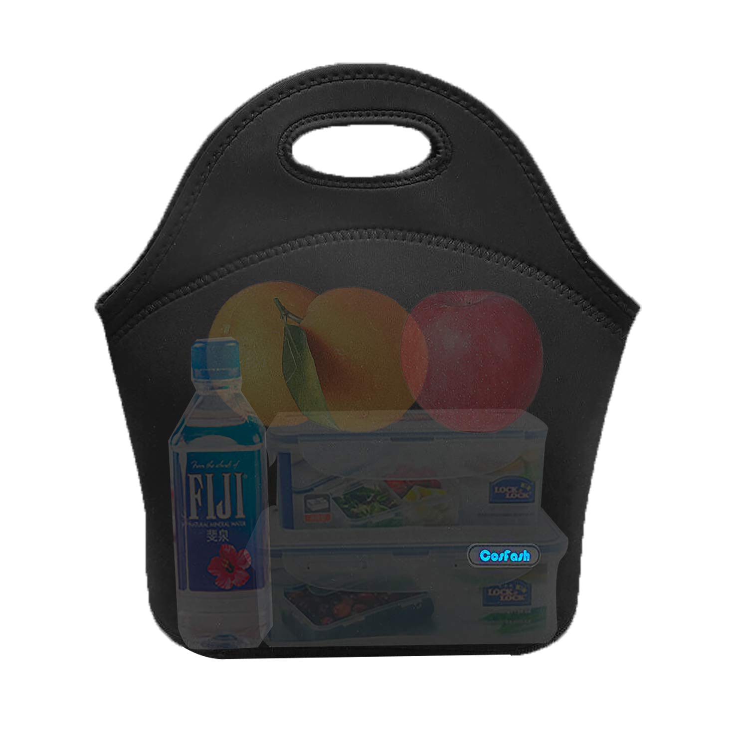 Cosfash Neoprene Lunch Tote Insulated Reusable Picnic Lunch Bags Boxes for Men Women Children Kid Adults Toddler Nurses (Black)