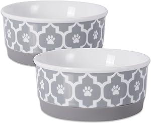 Bone Dry DII Lattice Square Ceramic Pet Bowl for Food & Water