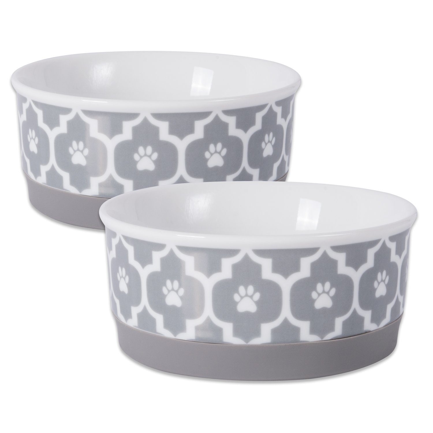 DII Bone Dry Lattice Ceramic Pet Bowl for Food & Water with Non-Skid Silicone Rim for Dogs and Cats (Small - 4.25'' Dia x 2''H) Gray - Set of 2
