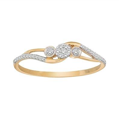 e3605463a9c66 Amazon.com: 0.09 Cttw Diamond Three Diamond Cluster Stackable Ring ...