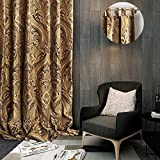 ChadMade Luxury Heavy Weight Rayon Chenille Floral Jacquard 50Wx63L Inch Energy Saving Lined Curtain Panel Drapery Eyelet Tab Top For Bedroom Living Room Club Restaurant Villa For Sale
