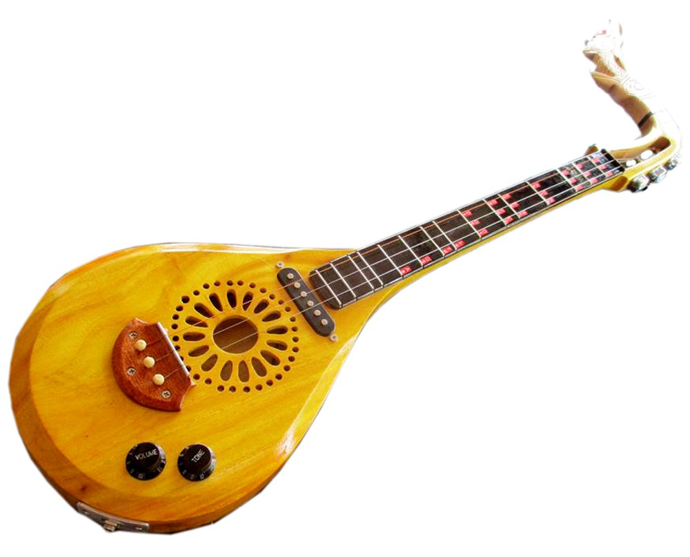 Isarn Acoustic Electric Phin 3 Strings, Thai Lao Guitar Musical Instrument, Traditional Thai Musical Pin55