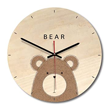 Wall Clocks - 2018 Cartoon Owl Lion Wooden Wall Clock Modern Design Living Room Watch Mute
