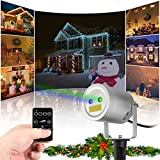 Starry Motion Star Projector RF Remote Auto On/Off Timer, FDA Approved Pool Camping Garden Holiday Christmas Laser Light, 2 Color