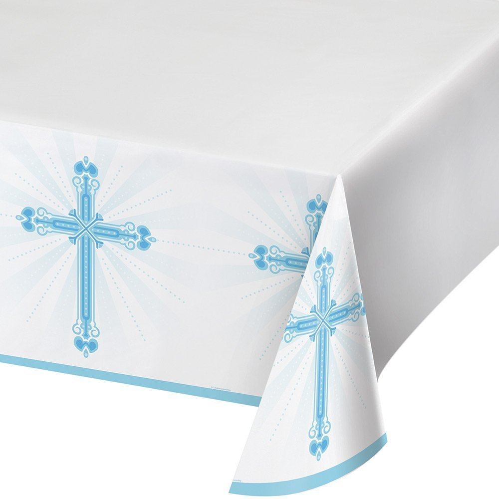 Creative Converting 722223 Border Print Plastic Tablecover, 54 x 102, Blessings Blue (3-Pack)