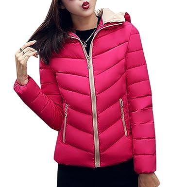 YOUR GALLERY Abrigos Plumas Chaquetas de vestir Cremallera Invierno Cazadoras Cortas con Capucha para Mujer, Rosa-XL: Amazon.es: Ropa y accesorios