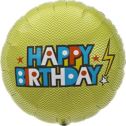18 inch Northstar Balloons 00346 Happy Birthday Bolt Helium Foil Balloon
