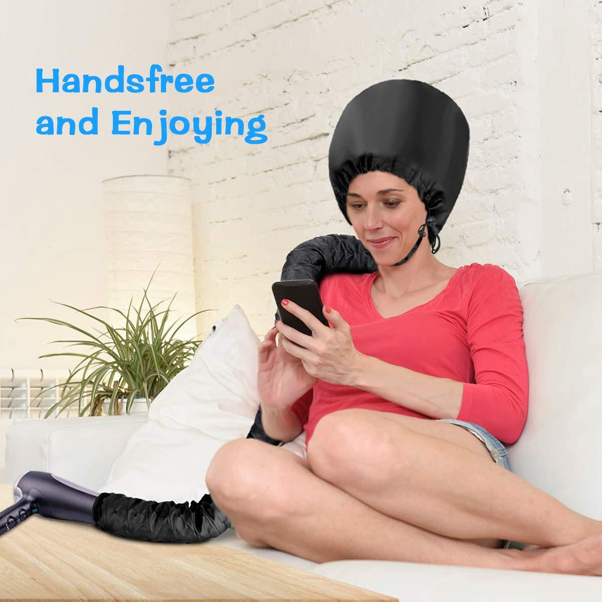 Haubenhaube Haartrockner, LC-dolida Weiche Haube Hauben Haartrockner Hand Frei für Haarpflege Tiefe Pflegemütze mit Blauem Trockenen Handtuch