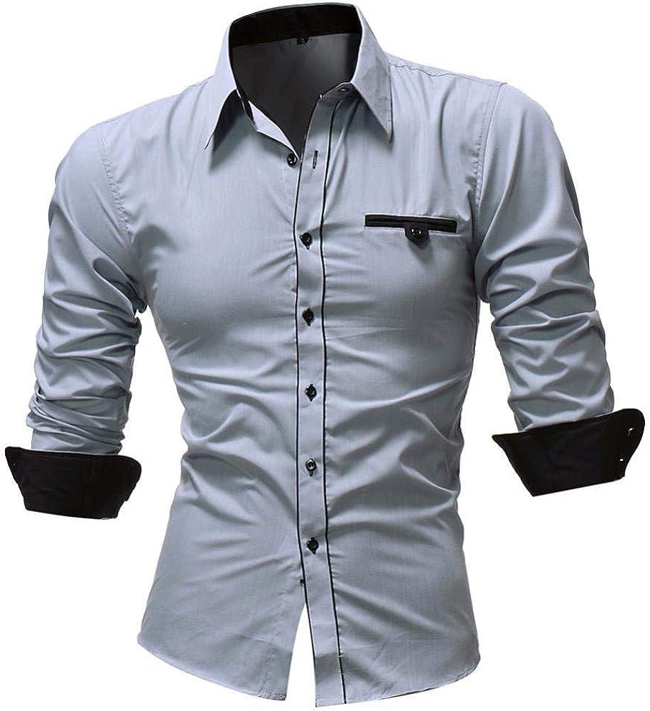 Sunshineboby Camisa De Simple Traje Estilo Slim Fit Los Hombres Boda De Negocios Ocio Camisas De Manga Larga Hombres Hombres Camisa De Los Hombres De Manga Larga Aptitud Sudaderas Polo: Amazon.es: Ropa