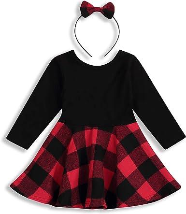 2pcs Baby Girl Plaid Princess Dress Long Sleeve Cotton Dress Headband Outfit Set