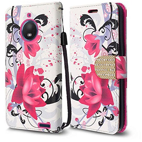Motorola Pink Keyboard - Motorola Moto E4 Case, Luckiefind Premium PU Leather Flip Wallet Credit Card Cover Case, Stylus Pen, Screen Protector Accessories (Wallet Purple Lily)