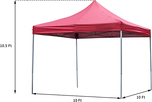 OVASTLKUY 10×10 Ez Pop up Canopy Tent Portable Shade with/Without Removable Side Walls Red Without Side Wall