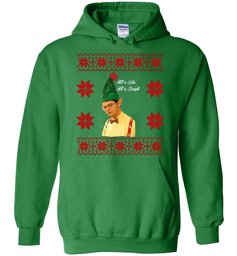 Dwight Christmas All is Calm All is Dwight Rainn Wilson Hoodies Adult and Youth Size