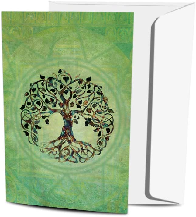 Tree-Free Greetings Eco-Friendly Buddha-Themed Notecard Set with Envelopes, Made in the USA with 100% Recycled Paper in a Solar Powered Facility, Tree of Life, Pack of 12 (FS56951)